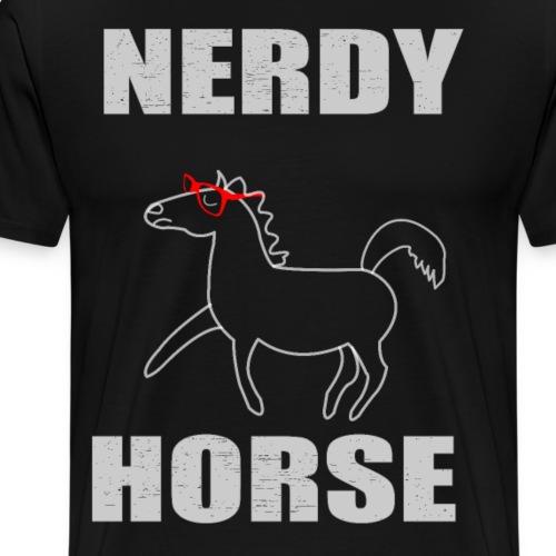 Nerdy Horse Gift rote Brille Geschenkidee - Männer Premium T-Shirt