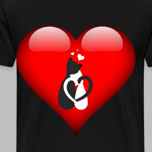 cat love katzen liebe herz Geschenkidee - Männer Premium T-Shirt