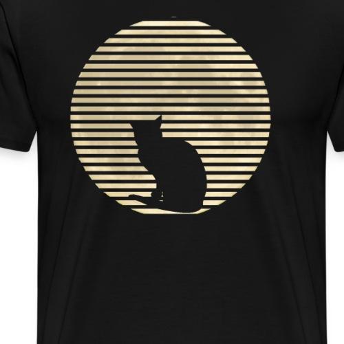 Katze und Mond Retro Geschenkidee - Männer Premium T-Shirt