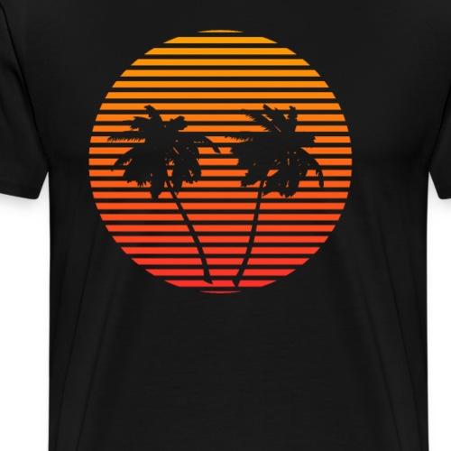 RETRO SONNENUNTERGANG PALMEN 80er Jahre Geschenk - Männer Premium T-Shirt