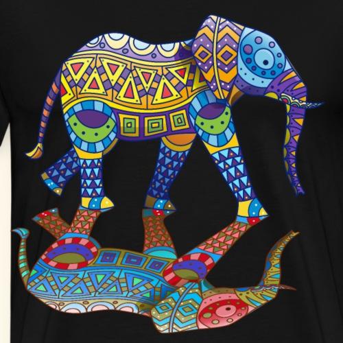 Farbenfroher witziger Elefant Frühling Farbenfest - Männer Premium T-Shirt