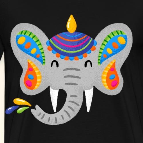 Niedlicher farbenfroher Elefant Indien Farbenfest - Männer Premium T-Shirt
