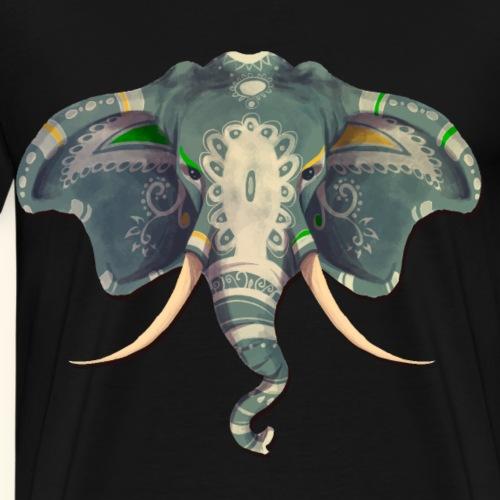 Indischer Elefant ausdrucksstarkes Aquarell - Männer Premium T-Shirt