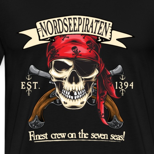 Nordseepiraten Piratenschädel Totenkopf Geschenke - Männer Premium T-Shirt