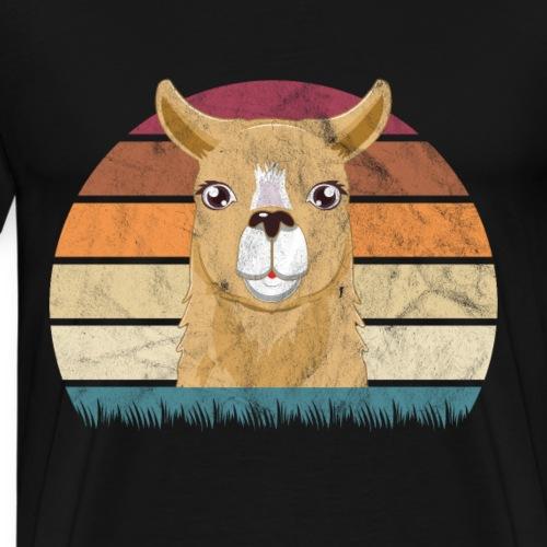 Lama with no Drama Retro Geschenkidee - Männer Premium T-Shirt