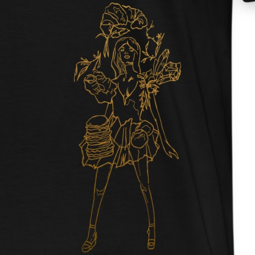 Fashion food lady in gold - Männer Premium T-Shirt