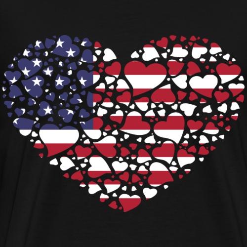 coeur USA drapeau - T-shirt Premium Homme