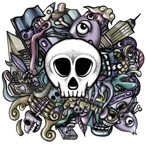 Doodle Skull - Camiseta premium hombre
