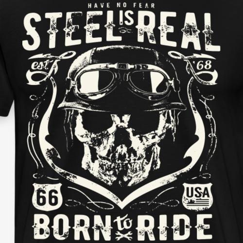 Har No Fear Is Real Steel Born to Ride est 68 - Premium T-skjorte for menn