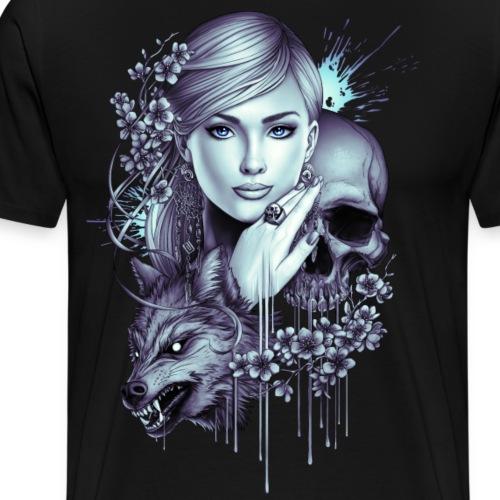Wolf Skull Girl Tattoo - Men's Premium T-Shirt