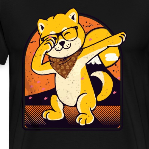 Japanischer Akita Hund mit Brille Dab Pose - Männer Premium T-Shirt