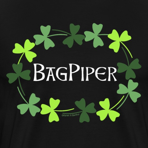 Bagpiper Shamrock Oval White Text