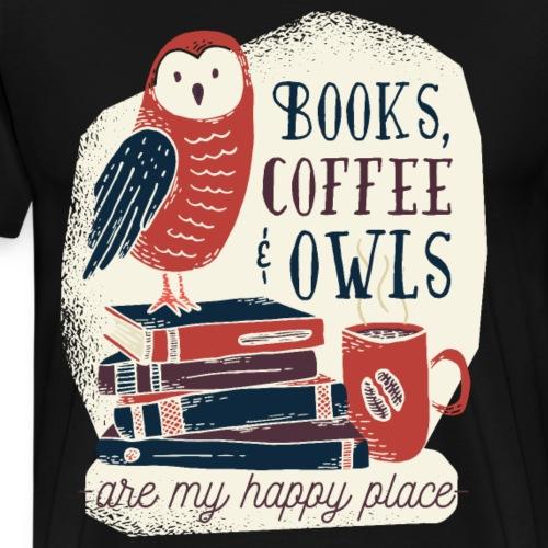 Bestes Bücher Kaffee Eulen online Design - Männer Premium T-Shirt