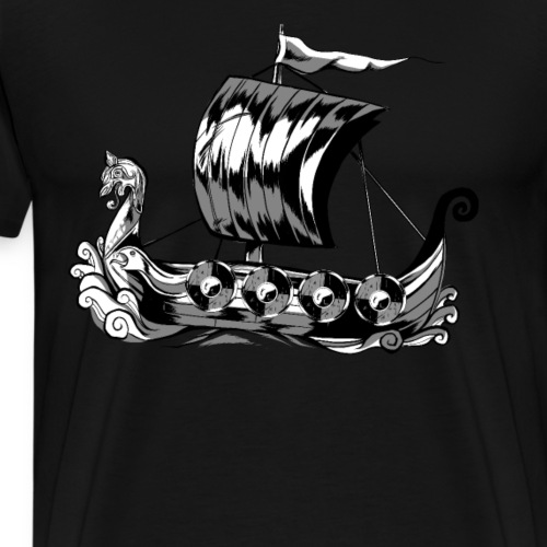 Cartoon Wikinger Schiff Design - Männer Premium T-Shirt