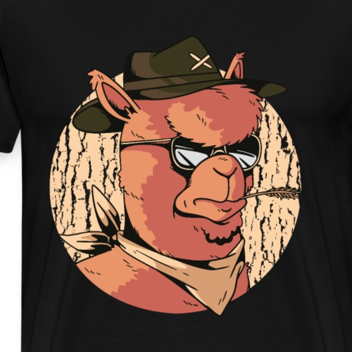 Cartoon Alpaka Brillen Design - Männer Premium T-Shirt