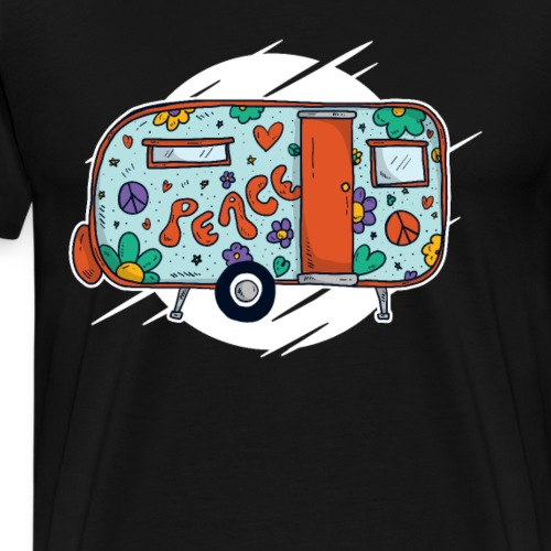 Flower Power Bus Hippie Retro 60er 70er - Männer Premium T-Shirt