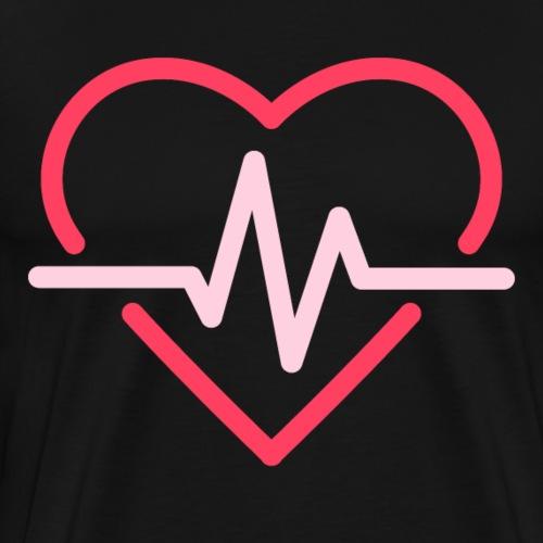 Herz mit Pulsschlag Liebe und Gesundheit - Männer Premium T-Shirt