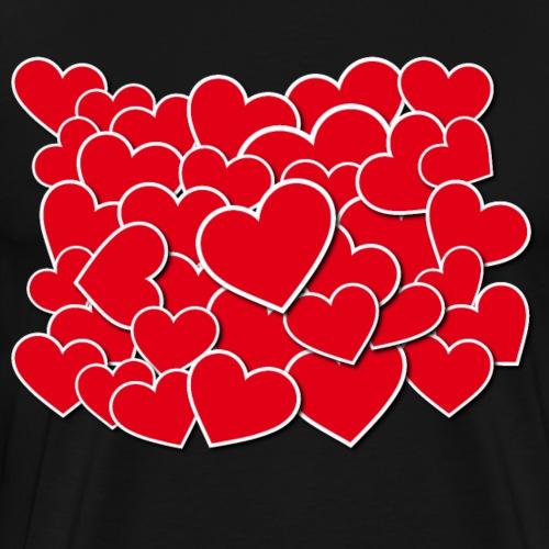Stapel an Herzen für Verliebte am Valentinstag - Männer Premium T-Shirt