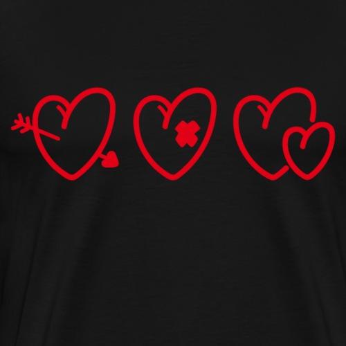 Drei Herzen getroffen, verletzt, Liebe zu zweit - Männer Premium T-Shirt