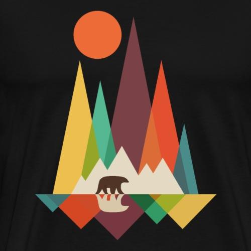 Kleurrijk landschap met beer - Mannen Premium T-shirt