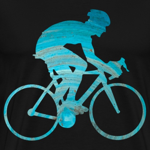 Männlicher Radrennfahrer mit blauen Wasserfarben - Männer Premium T-Shirt