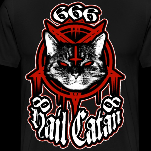 Hail Catan! Satanic Black Metal Cat - Blood Red - Men's Premium T-Shirt