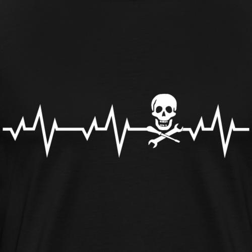 Herzschlag Heartbeat Mechaniker Shirt Geschenk - Männer Premium T-Shirt