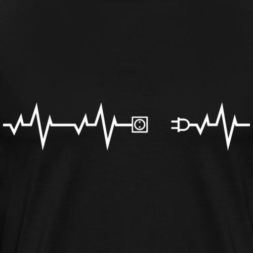 Herzschlag Heartbeat Elektriker Shirt Geschenk - Männer Premium T-Shirt