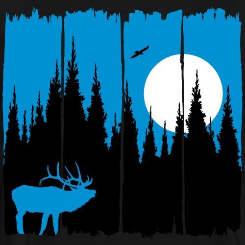 Hirsch vor Mond/Sonne Waldbewohner Wald Reh Tier - Männer Premium T-Shirt
