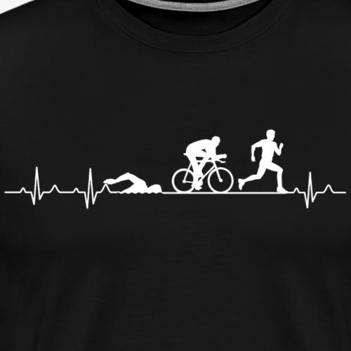 Herzschlag eines Triathleten - Triathlon Hearbeat - Männer Premium T-Shirt