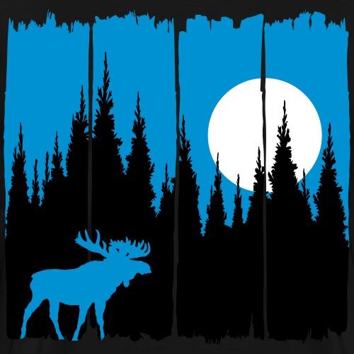 Elch vor Mond/Sonne Waldbewohner Wald Hirsch Tier - Männer Premium T-Shirt