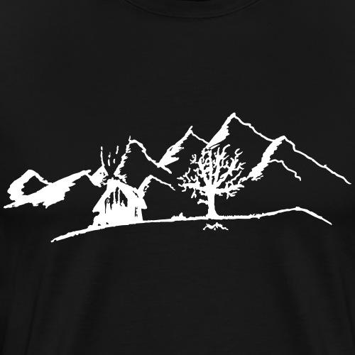 Hütte im Schnee in den Bergen - Men's Premium T-Shirt