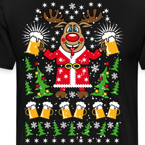 81 Hirsch Rudolph Deer Bier Beer Weihnachtsmann - Männer Premium T-Shirt
