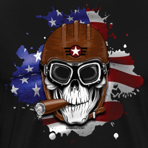 AMERICAN PILOT - SKULL - USA - LAHJATUOTTEET - Miesten premium t-paita