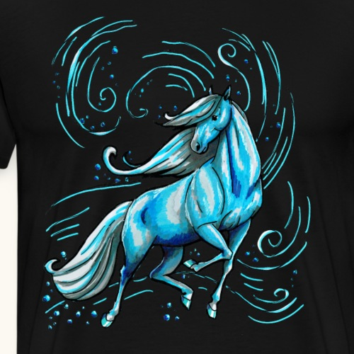 Cheval beau cadeau d'eau élégant bleu drôle - T-shirt Premium Homme