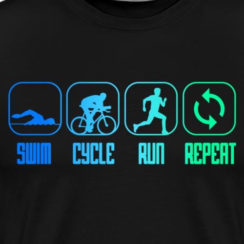 SWIM CYCLE RUN REPEAT - Triathlon - Triathlet - Männer Premium T-Shirt