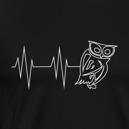 Herzschlag Eule - Männer Premium T-Shirt