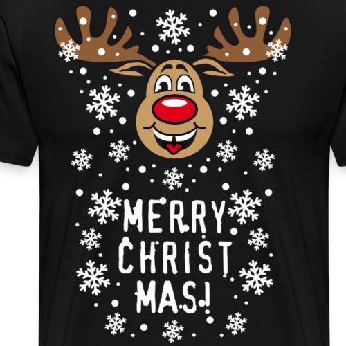 54B Deer Hirsch Rudolph Merry Christmas funny - Männer Premium T-Shirt