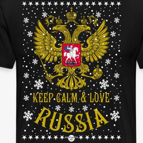 119 Keep Calm and love Russia Wappen Schnee - Männer Premium T-Shirt