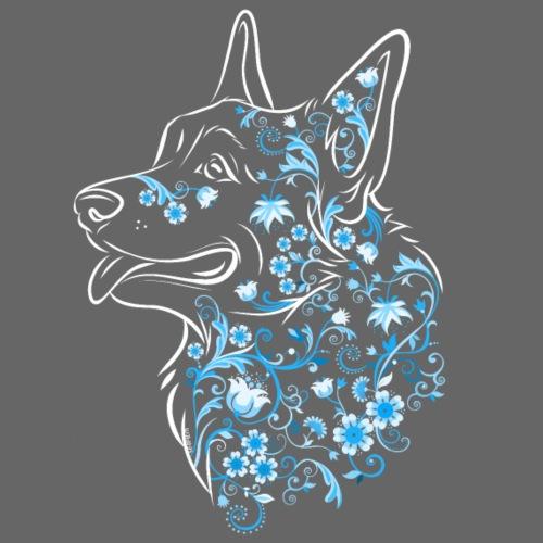 Flower Corgi Blue - Miesten premium t-paita