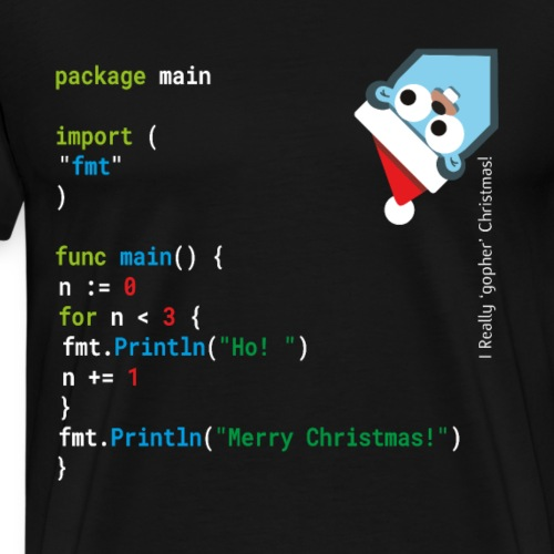 Ho! Ho! Ho! - Merry Christmas - Go / Golang Geek - Men's Premium T-Shirt