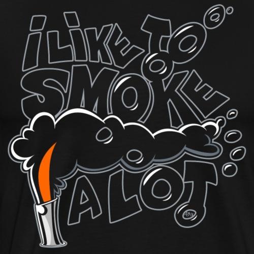 I like to smoke a lot black - Mannen Premium T-shirt