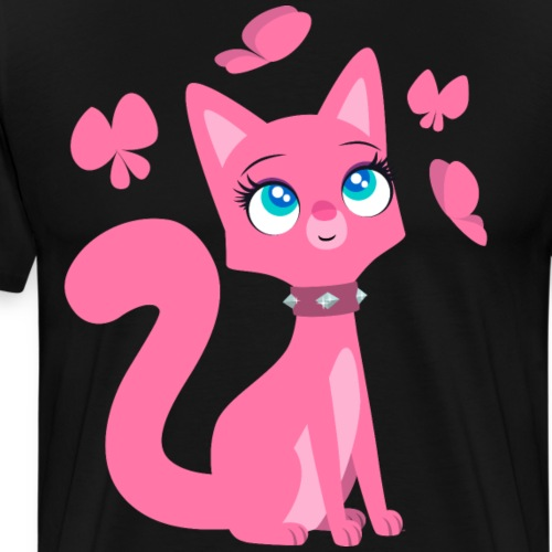 Kittenish Pink Kitty by Cheerful Madness!! - Men's Premium T-Shirt