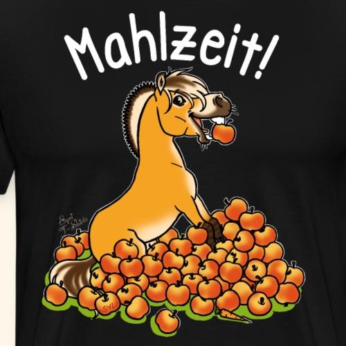 Fjordy mit Apfel Mahlzeit (Text weiss) - T-shirt Premium Homme
