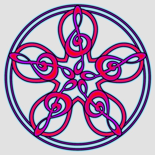 Treble Clef Mandala (red/violet/blue) - Men's Premium T-Shirt