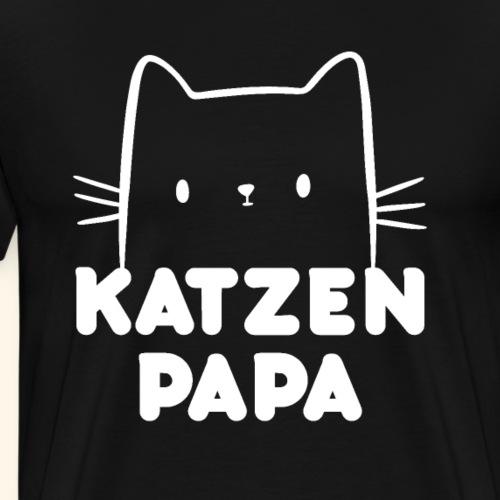 Katzen Vater Papa Katzengesicht Geschenk - Männer Premium T-Shirt
