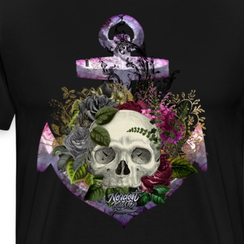 Totenkopf Blumenanker - Männer Premium T-Shirt