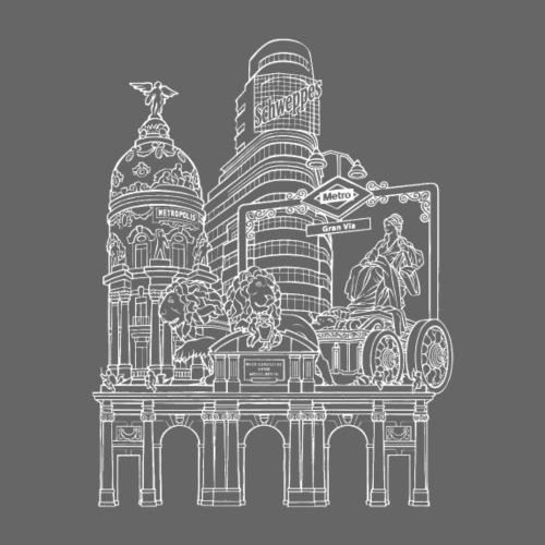 MADRID COLLAGE BLANCO - Camiseta premium hombre