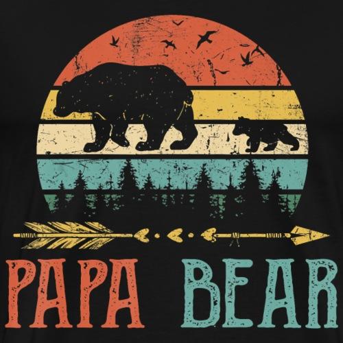 Papa bear T Shirt Vintage Daddy Wildling Father - Men's Premium T-Shirt