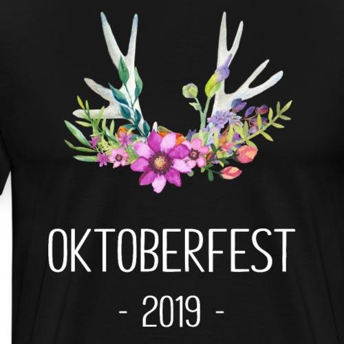 Oktoberfest Design mit Hirschgeweih und Blumen